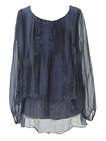 TEXTURE ONLINE Ladies Women Italian Lagenlook Quirky Long Sleeve Sequin Hem Bottom Snake Print Silk Tunic Top Blouse One Size Plus UK 14-20 (One Size Plus, Navy)