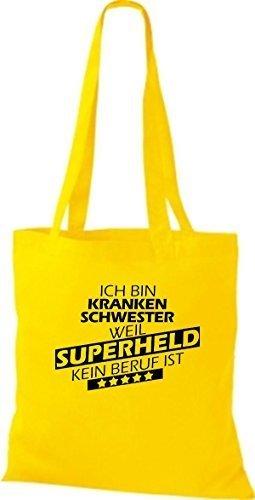 Borsa di stoffa SONO infermiera, WEIL supereroe NESSUN lavoro è giallo dorato