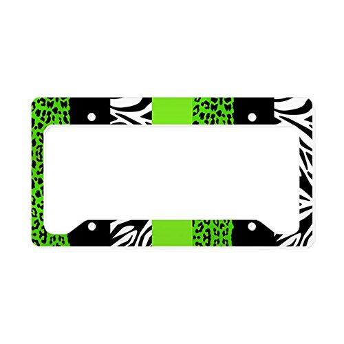 CafePress-Lime Grün Animal Print Strip-- aluminium Nummernschild Rahmen, Lizenz Tag Halter