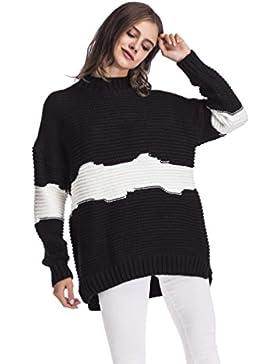 [Patrocinado]WanYang Mangas Largas Camiseta Tops Pullover Puente Tops Prendas de Punto Moda Suéter Largo Casual Pullover Señoras...