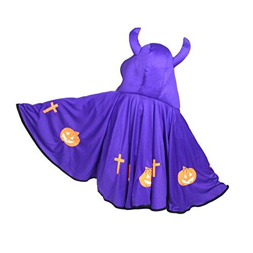 Teufel-Kostüm für Kinder, für Halloween oder Cosplay, mit Hörnern und Umhang