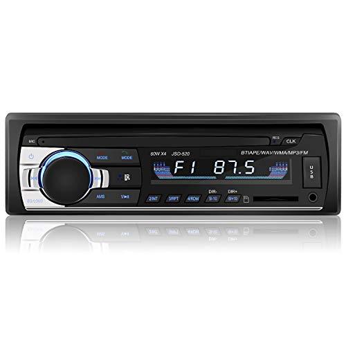 YOHOOLYO Autoradio mit Bluetooth Freisprecheinrichtung RDS FM Radio Tuner 1 Din USB/SD/Aux Anschluss Fernbedienung und ISO-Kabel (schwarz 2) (Verpackung MEHRWEG) - Bluetooth Und Mit Aux Autoradio