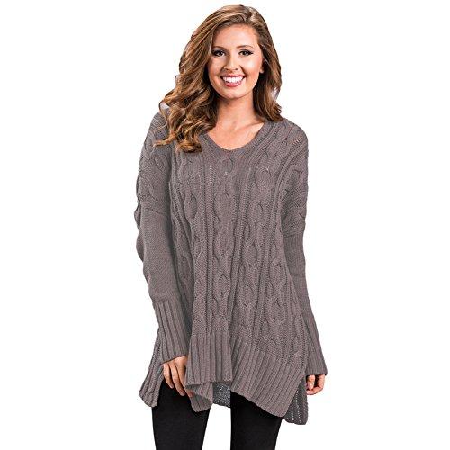 MEI&S Col en V femmes Regroupement cavaliers occasionnels Haut Pull Sweater sweat-shirts brown