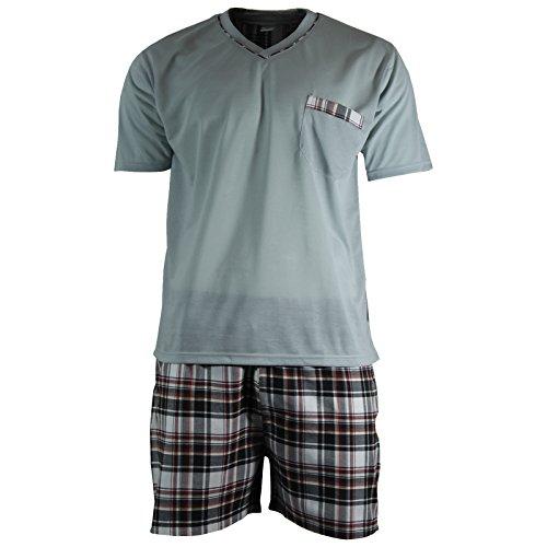 Herren Schlafanzug Shorty T-Shirt uni Hose im Karolook kurz 2-tlg in 5 Farben - Qualität von Lavazio®, Größe:3XL, Farbe:grau