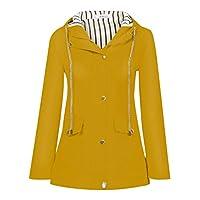 TIMEMEAN Winter Women Autumn Casual Daily Coats Women Solid Rain Jacket Outdoor Plus Waterproof Hooded Raincoat Windproof Yellow Size 10
