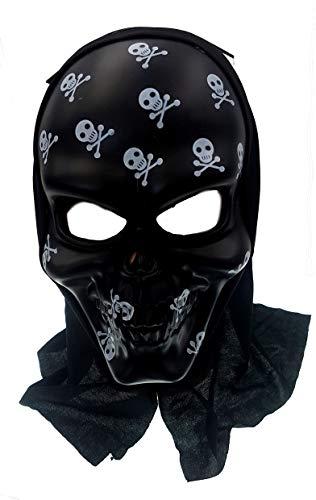 PICCOLI MONELLI Schwarze Piraten Schädel Maske mit Kapuze