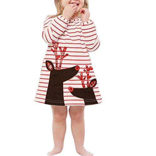 Hffan Kleinkind Kinder Baby Mädchen Hirsch Gestreift Prinzessin Kleid Weihnachten Outfits Kleider Mädchen Crewneck Langarm Kleid (5 Jahre, (Mädchen Schmetterling Kostüme Kleinkind)