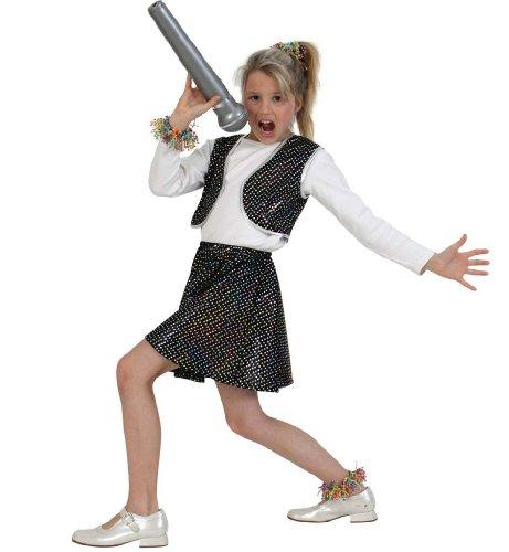 KarnevalsTeufel Kinderkostüm Roxy Schwarz, Zweiteiliges Outfit mit Glitzerpunkten, Kinderstar, Showgirl