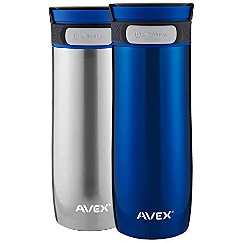 Avex Thermal Mugs, 2 Pack in Blue + Stainless Steel