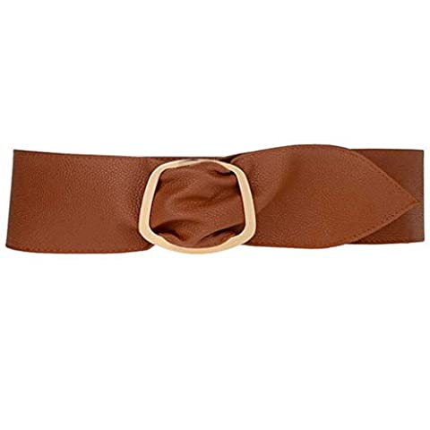 bismarckbeer Women Faux Leather Wide Dress Waist Belt Strap Waistband Fashion Accessory (Camel)