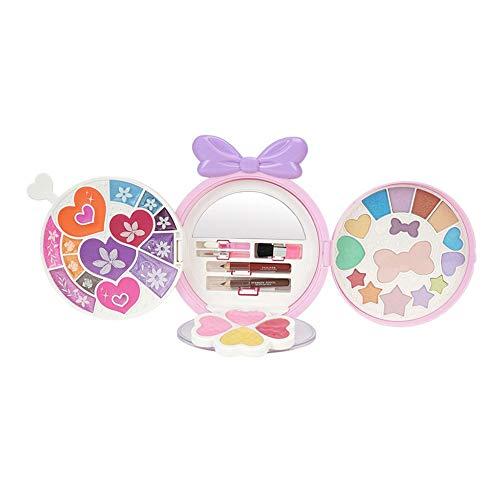 Make-up-Set für Mädchen, zusammenklappbare Make-up-Palette mit Spiegel, Set mit wasserlöslichen und ungiftigen Kosmetiketuis für Kinder