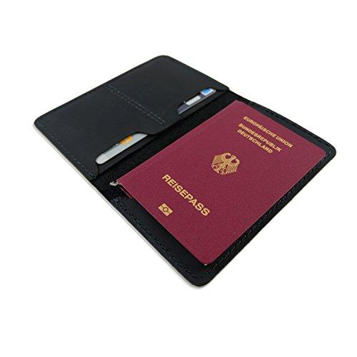 MOGENSEN Fredericia Echtleder Ledermappe Reisepasshülle Organizer Smartphone Hülle (schwarz)