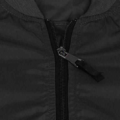 Ouneed® Femme Flight Jacket Casual Blouson ZIppe Glauque / Noir Noir