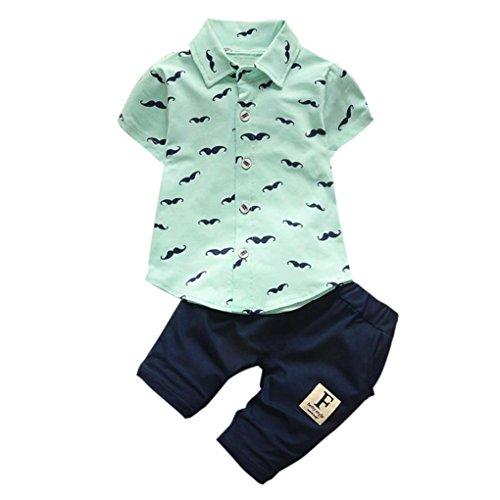 end Kleinkind Säugling Baby Bart Drucken Kurzarm-Shirt + Hosen Outfit Kleidung Einreihig Bekleidungssets 2 Stück Babyanzug (Grün, 12M) (Kinder 50er Jahre Outfits)