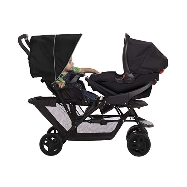 Graco Stadium Duo Click Connect Tandem Pushchair, Black/Grey Graco Compatible with all graco click connect car seats, which can be easily added to the tandem chassis with just one click. Folded-Length:66cm, Height: 109cm Convenient one-hand standing fold, featuring an automatic storage latch that folds effortlessly. Maximum weight capacity is 15 Kg. Stadium-style seating positions with slightly higher rear seat, so that both children can see the world around them 7