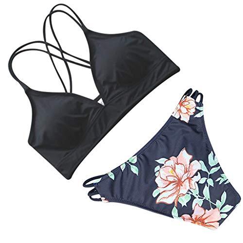 Innerternet Damen Print Split Bikini-Set Geblumtes Bikini Set mit Schnürung Push Up Gepolsterte Bademode mit Blatt Pattern Zweiteilig - Blättern Teppich
