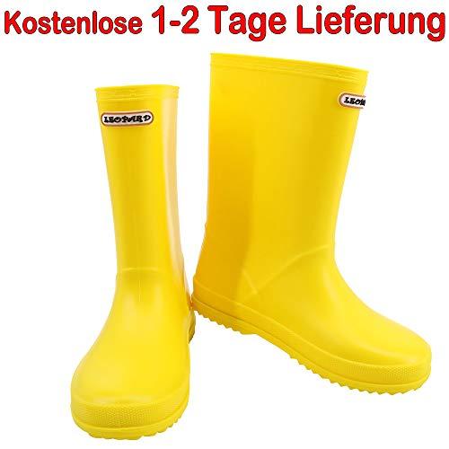 Leopard Jungen Mädchen Rutschfeste wasserdichte Regen Stiefel (Gelb EU32) Unisex Kinder Gummistiefel Motorrad Schuhe - Kleinkind-gelb Regen Stiefel