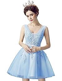 Babyonlinedress Vestido corto para fiesta de noche y para boda estilo A-line elegante cuello redondo sin mangas espalda de cierre y de trenza