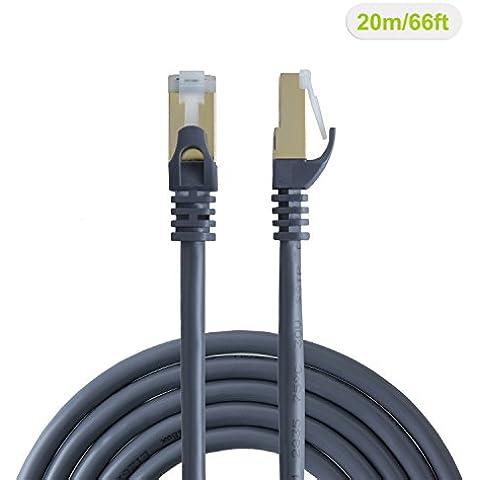 vellbox 20m Cat6a (categoria 6A), doppio schermato (SSTP SFTP) cavo patch Ethernet maschio/maschio, contatto placcato oro