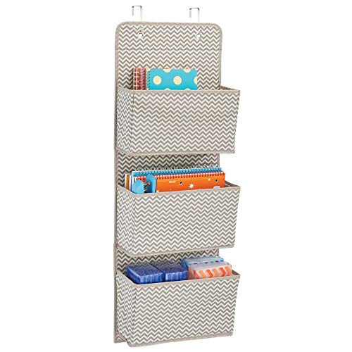 mDesign Office Wall Storage - Over Door Storage for File Folders, Pens, Pencils & Office Accessories - Home Office Storage Solutions - Home Office Shelving - 3 Pockets, Taupe/Natural