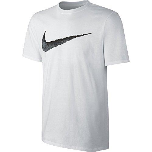 Nike Herren Hangtag Swoosh T-Shirt, White/Black, M