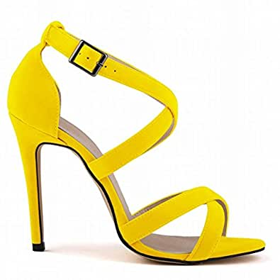 L@YC Frauen High Heels Flanell Sommer und Herbst Fine mit Open-Toed Multi-Colored Ball Sandalen, Yellow, 37