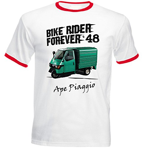 TEESANDENGINES Men's APE Piaggio Green Rider Forever 1 Red Ringer T-Shirt Size Large -