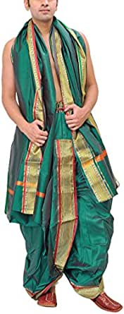 Exotic India Men's Ready to Wear Dhoti and Veshti Set with Woven Golden Border - Color Bayou GreenGarment Size Free Size