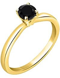 Silver Dew 925 Sterling Silver CZ Diamond Yellow Gold Plated Solitaire Round Ring For Women & Girls