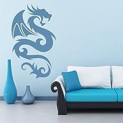 Dragón alado Fantasía tribal Dragones vinilos decorativos Inicio decoración art pegatinas disponible en 5 tamaños y 25 colores X-Grande Musgo Verde