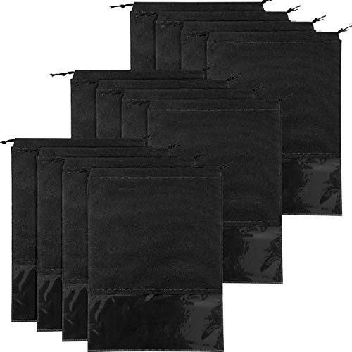 12 Pezzi Sacchetto di Scarpe da Viaggio Scarpa Grande Organizer Sacchetto Non Tessuto di Stoccaggio con Finestra Trasparente e Coulisse (Nero, Taglia 2)