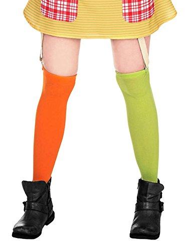 Pippi Langstrumpf Kniestrümpfe für Damen grün/orange (S-L)