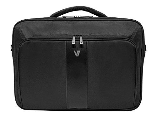 V7 Professional II slim Business Laptop Tasche für Notebooks bis 17 Zoll, wetterbeständiges 420D Nylon, schwarz (Damen Laptop-tasche Italienischen Leder)