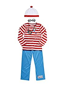 Boys Where's Wally Fancy Dress Book Week Costume 5-6yrs with Hat & Glasses, Made by Smiffy's for F&F Collection