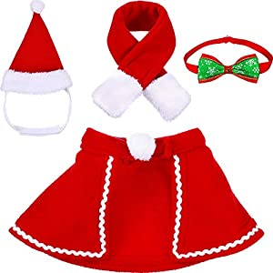 Tatuo-Pet-Adjustable-Christmas-Santa-Hat-Cloak-Scarf-and-Collar-Bow-Tie-Christmas-Costume-for-Puppy-Kitten-Small-Cats-Dogs-Pets