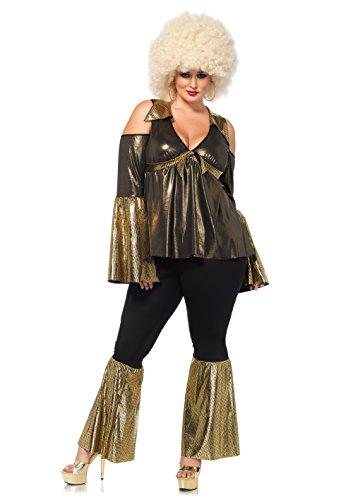 Leg Avenue 85596X - Kostüm Set Disco Diva, Damen Fasching, 1X-2X, schwarz/gelb