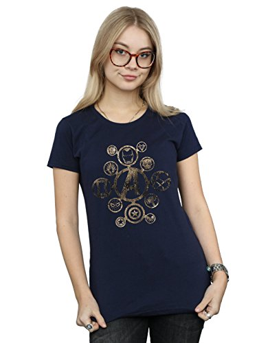 Avengers Damen Infinity War Icons T-Shirt Navy Blau Small