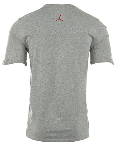Nike Aj 2 Up In The Air Tee-Maglietta a maniche corte da uomo Gris (Dk Grey Heather / Gym Red)