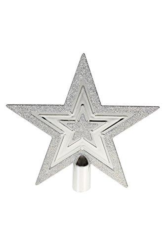 Clever Creations - Adorno para coronar el árbol de Navidad - Ideal para Cualquier decoración - Plástico Resistente a los Golpes - Estrella Plana de 5 Puntas - Plateado Brillante - 20,3 cm