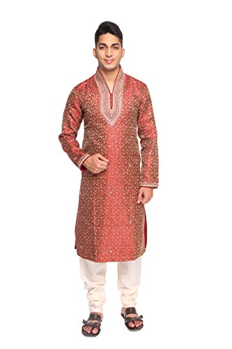 Rajasi's MAROON color COLLAR HAND WORK SHERWANI, comes in a set with...