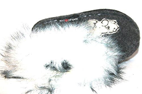 Haflinger , Chaussons pour fille Noir Noir Noir - Gris