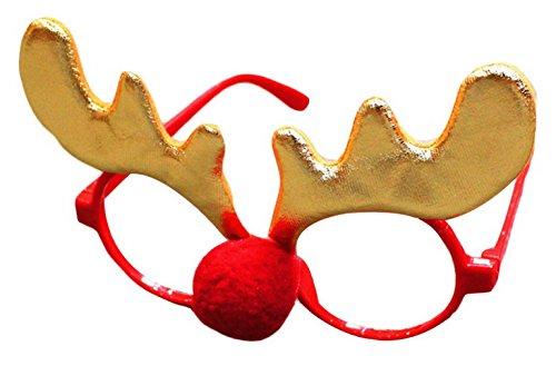 Lukis Lustige Rentier Brille mit Roter Nase Weihnachts Partybrille Photo Booth Größe 14.5cmx11cm Stil-2