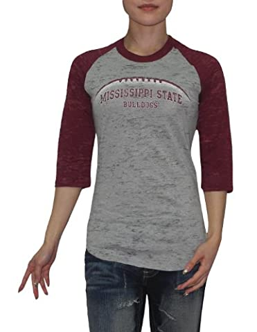 NCAA Mississippi State Bulldogs Femme Slim Fit 3/4 Sleeve Vintage T Shirt 2XL Grey