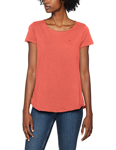 Tommy Jeans Damen T-Shirt Tjw Soft Jersey Tee, Rosa (Spiced Coral 689), Large (Stretch-jersey-t-shirt Damen)