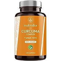 Curcuma Bio (650mg) con Pepe Nero (50mg) e Zenzero (10mg)   120 Capsule Gastroresistenti   Integratore 100% Vegano   Curcuma Complex   Prodotto da Nutridix