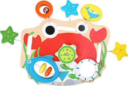 """Spieltafel \""""Motorik\"""" aus stabilem Holz, verschiedene Elemente üben das Greifen und Ziehen, mit Spiegel und Rassel, fördert die Motorik und trainiert die Kräfte des Babys"""