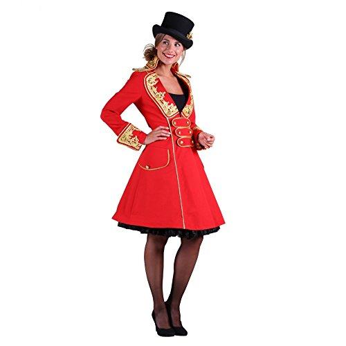 Thetru Kostüm Zirkusdirektorin Mantel rot Gehrock Fasching Zirkus Manege (XXL)