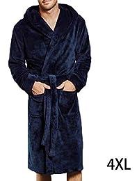 Bata larga para hombre, pijama con capucha, engrosado y cálido, camisón de manga larga con bolsillos de parche y…