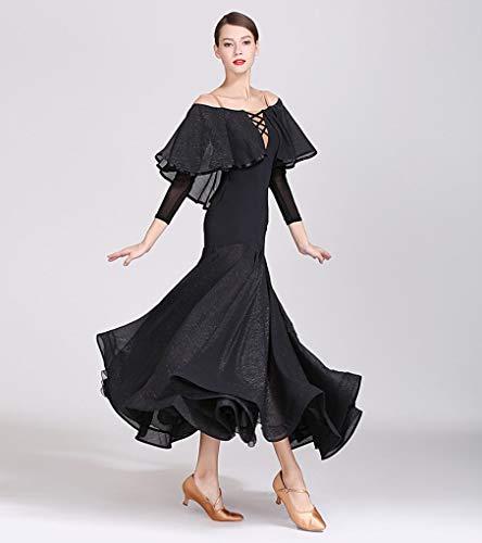 Z&X Modern Dance Kleid für Frauen Große Pendel Rock Ballsaal Kostüm Wettbewerb Nylon Ice Silk/Bright Silk Pleats,Black,XL