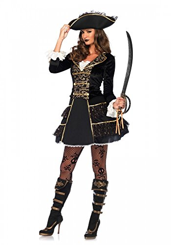 High Seas Pirate Captain Damen-Kostüm von Leg Avenue Piratin Kleid Hut sexy, (Sexy Captain Kostüme)